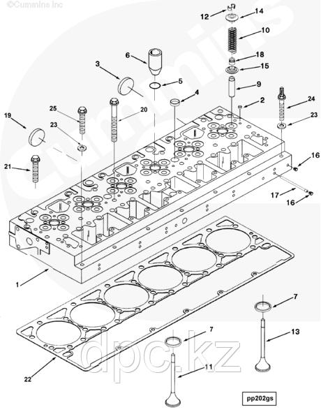 Головка блока цилиндров (ГБЦ) для двигателя Cummins модели QSM 11L 4952832 2864016 4952446 3103482 4952831