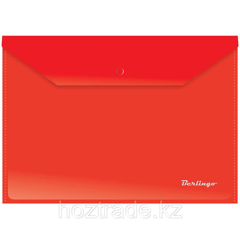 Папка конверт на кнопке А4 красная Berlingo