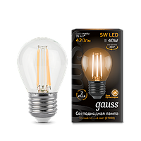 Лампа Gauss LED Filament Globe E27 5W 2700K