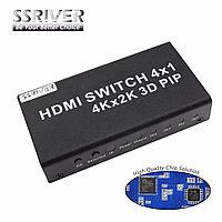 Селектор HDMI  4 входа 1 выход с пультом  1,4 и 3D,4K*2K  HDMI SWITCH