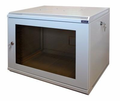 Шкаф настенный МиК 6U, 600*600*360, KEYS, серый, дверь-стекло