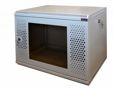 Шкаф настенный МиК 6U, 600*350*360, KEYS, серый, дверь-перфорация+стекло