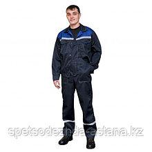 Костюм летний рабочий темно-синий с голубой кокеткой куртка + полукомбинезон