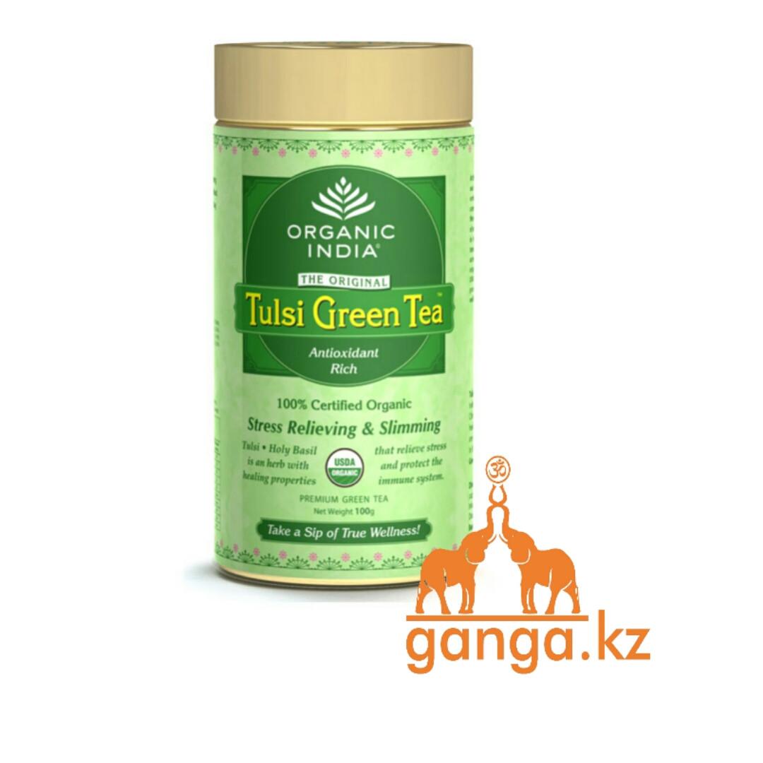 Зеленый Органический Чай Тулси (Tulsi Green Tea ORGANIC INDIA), 100 г.