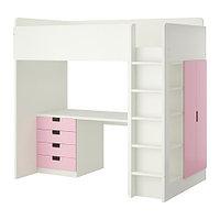 Кровать-чердак СТУВА 4 ящика/2 дверцы розовый ИКЕА, IKEA, фото 1