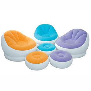 Мягкое надувное кресло с пуфиком Intex 68572 доставка, фото 2