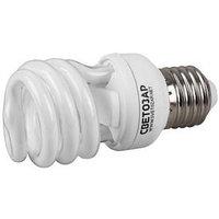 """Энергосберегающая лампа СВЕТОЗАР """"ЭКОНОМ"""" спираль, цоколь E27(стандарт), Т3, теплый белый свет(2700 К), 8000час, 12Вт(60)"""
