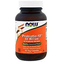Now Foods, Пробиотик-10 видов бактерий 50 миллиардов в 1 капсуле, 50 шт., фото 1