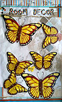 "Набор наклеек ""Бабочки"" 3D, желто-коричневые, 6шт., фото 1"
