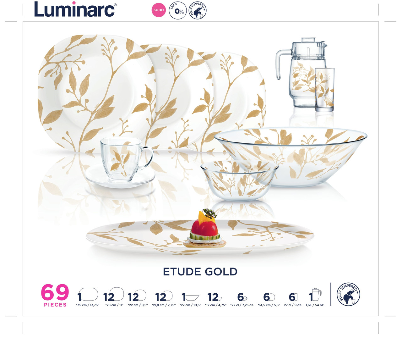 Столовый сервиз Luminarc ETUDE GOLD 69пр. на 12персон