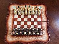 Шахматы-нарды из натуральной кожи 3 в 1, фото 1