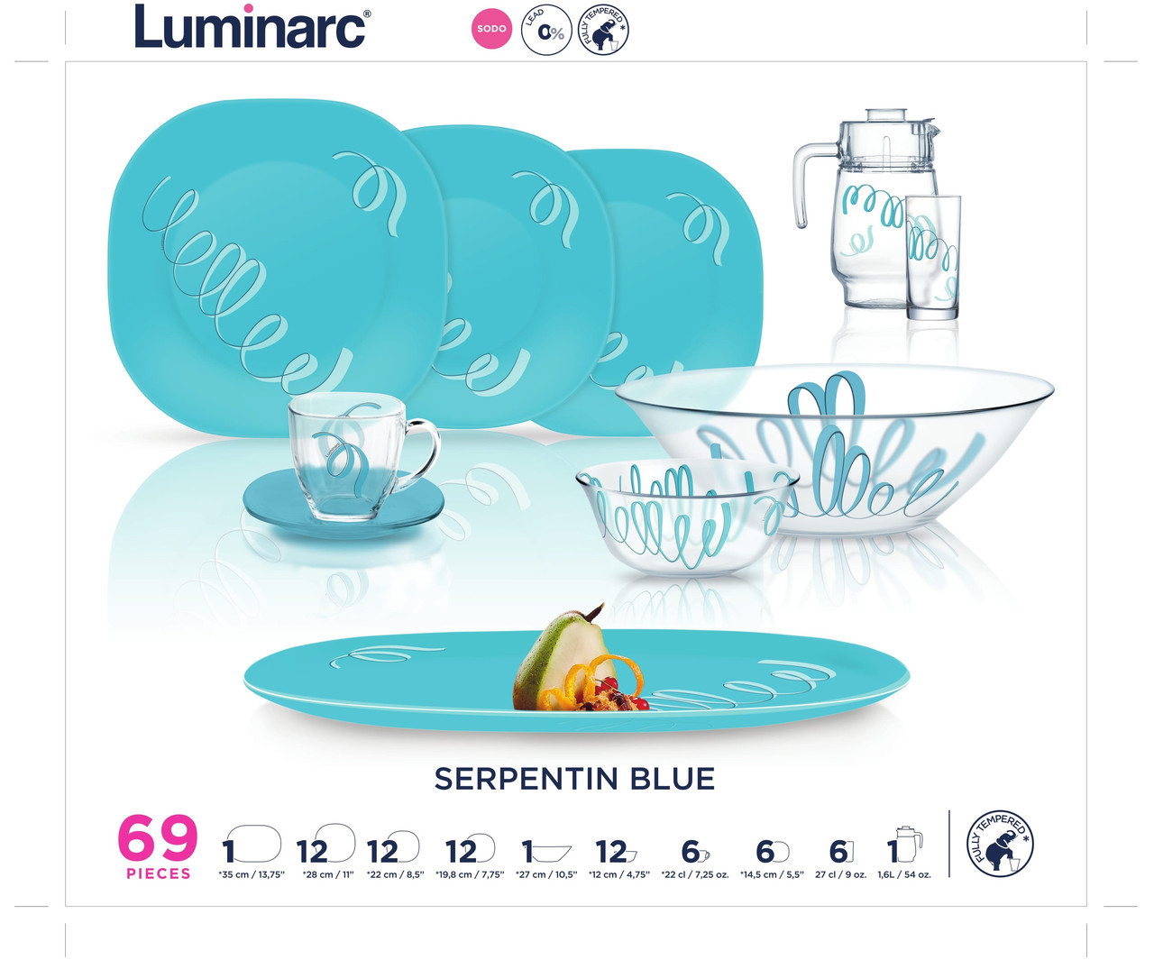 Столовый сервиз Luminarc SERPENTIN BLUE 69 пр. на 12 персон