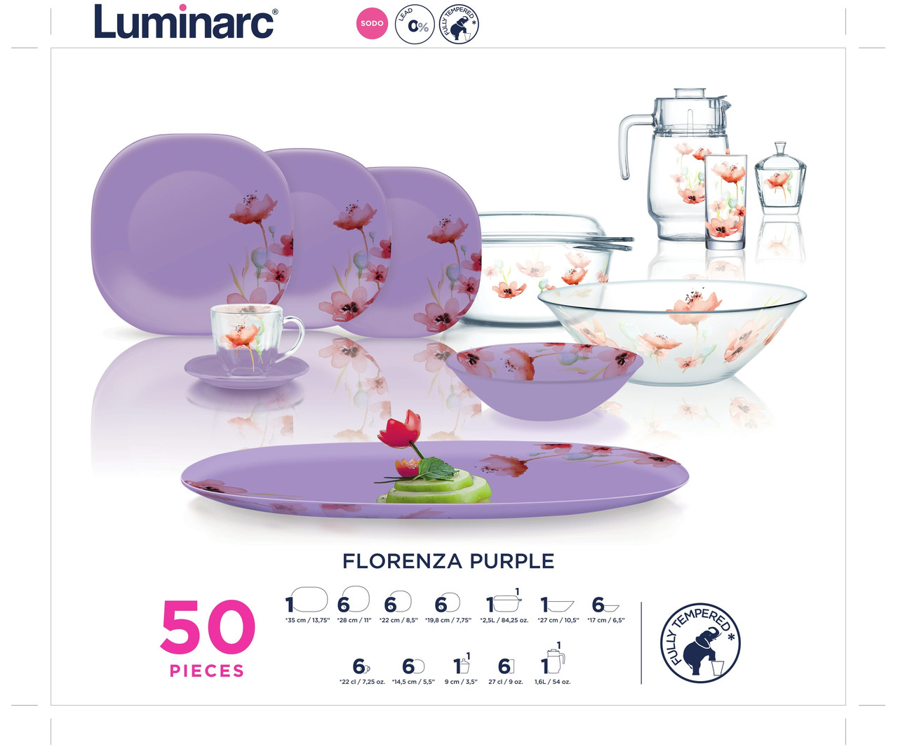 Столовый сервиз Luminarc FLORENZA PURPLE 50пр. на 6персон