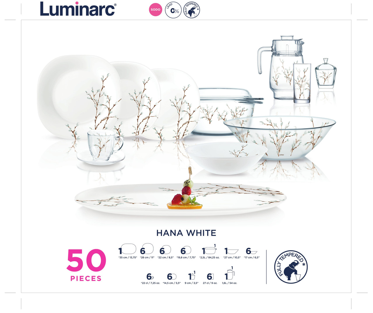 Столовый сервиз Luminarc HANA WHITE 50пр. на 6 персон