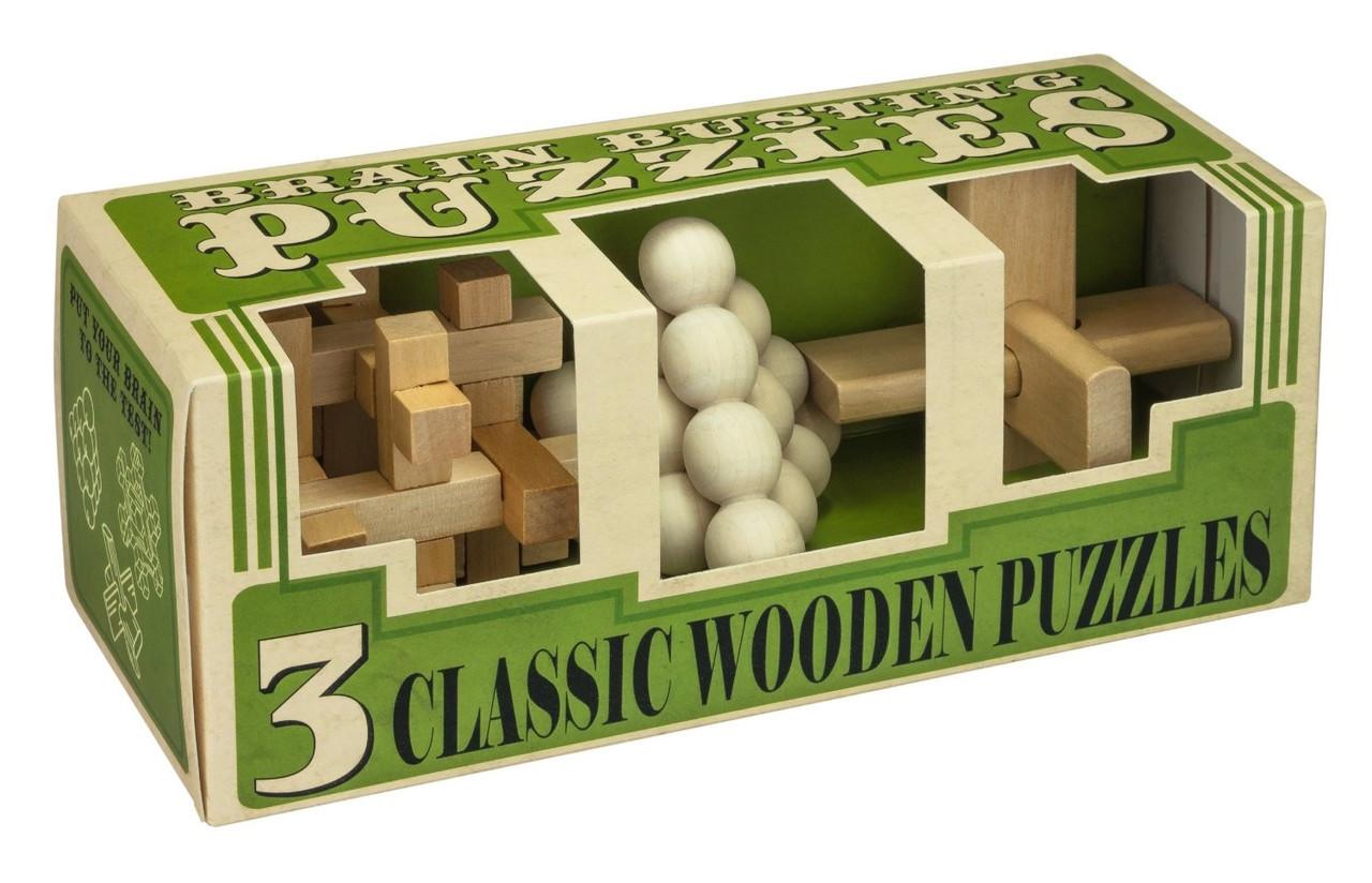 """Набор из 3 головоломок из дерева """"Зарядка для мозга"""""""