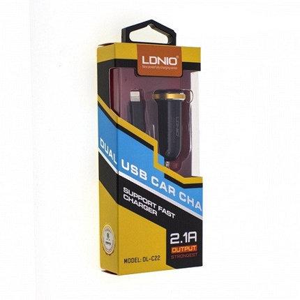 Автомобильное зарядное устройство LDNIO DL-C22 Lightning, фото 2