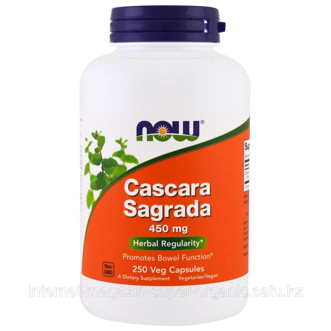Каскара саграда (крушина) Cascara Sagrada, 450 мг, 250 капсул, Now Foods