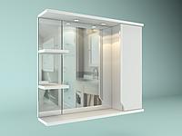 Шкаф навесной с зеркалом Лотос 700 мм 1 дверь+ 2 полки, фото 1