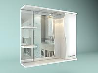 Шкаф навесной с зеркалом Орхидея 650 мм 1 дверь + 2 полки, фото 1