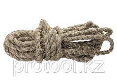 Веревка льнопеньковая, D 10 мм, L 6 м, крученая// СИБРТЕХ//Россия