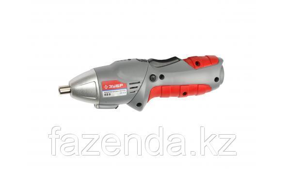 Отвертка ЗУБР аккумуляторная: ЗО-4,8 в комплекте: 12 насадок, металлический кейс