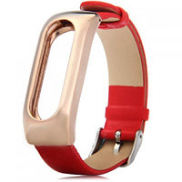 Ремешок для браслета Mi Band Leather strap Metal holder (Red) /