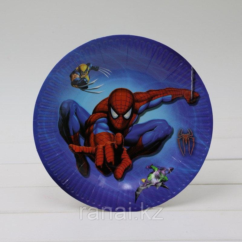 """Набор детских бумажных тарелок """"10 шт"""" для пикника, праздника""""Человек паук"""""""