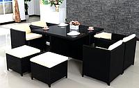 Комплект мебели из искусственного ротанга КУБ-8 (стол + 4 кресла + 4 пуфа)