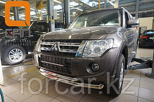 Защита переднего бампера Mitsubishi Pajero IV (2011-) (двойная) d 76/60
