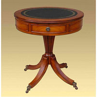 Round Drum Table With Leather