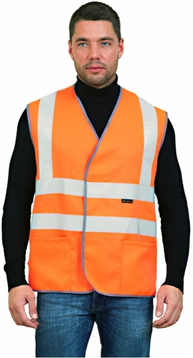 ЖИЛЕТ СИГНАЛЬНЫЙ с лентой и карманами (оранжевый)