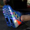 Кроссовки на роликах с подсветкой, ярко голубые wheelys, 39, 40 р