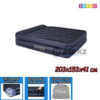 Двухспальный надувной матрас Intex 66702, размер 203х153х41, со встроенным насосом