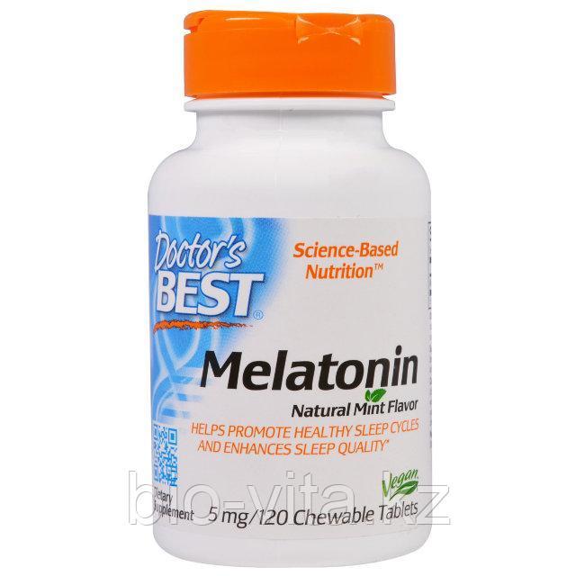 Doctor's Best, Мелатонин, натуральный аромат мяты, 5 мг, 120 жевательных таблеток.