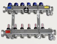 Коллектор для теплого пола Maincor (гребенка) 8 контуров, с расходомерами, без фитингов