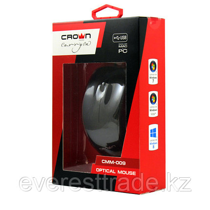 Мышь проводная Crown CMM-009 Black/Red, USB, 1000DPI, фото 2