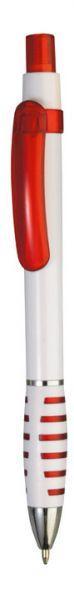 Ручка шариковая пластиковая белая с красным