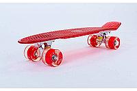 Пенни борд со светящимися колесами красный , фото 1