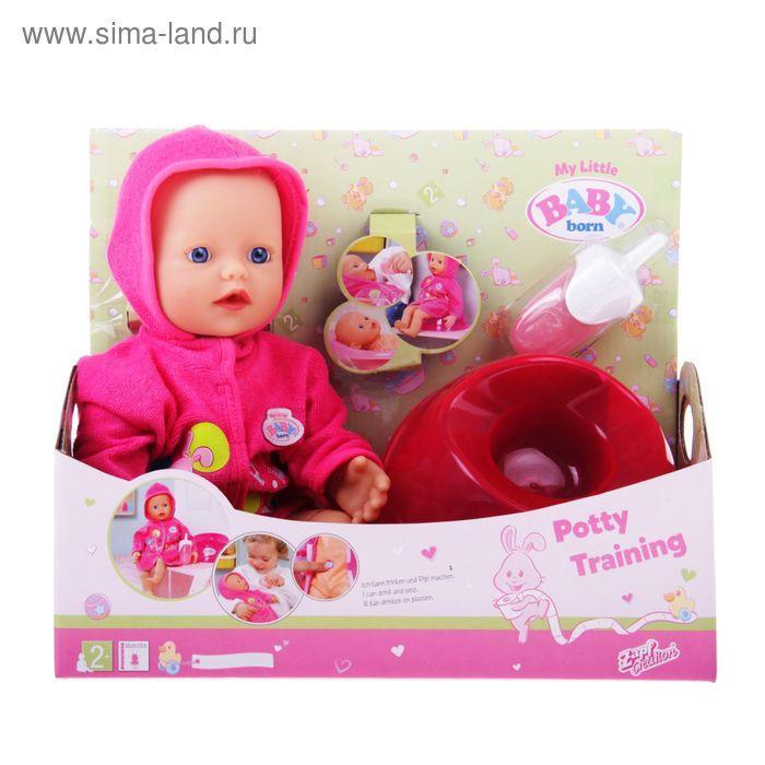 Кукла Baby Born Кукла быстро сохнущая  с горшком и бутылочкой
