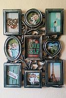 Фоторамка - коллаж на 9 фото, в стальном цвете, фото 1