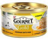 Gourmet Gold Нежные биточки с курицей и морковью Влажный корм для кошек, 85г., фото 1