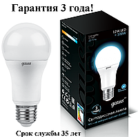 Гарантия 3 года! Лампа Gauss LED A60 globe 12W E27 4100K