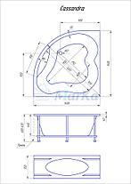 Акриловая угловая ванна Кассандра 140x140 (Полный комплект), фото 3