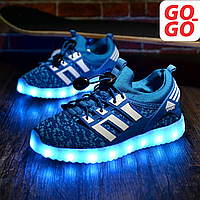 LED Кроссовки детские со светящейся подошвой, голубые, лето