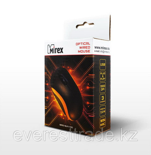 Мышь проводная Mirex MLK111OG Black-Orange USB