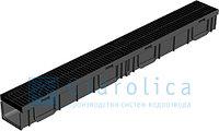 Комплект Gidrolica Light: лоток водоотводный ЛВ-10.11,5.9,5 пластиковый с решеткой пластиковой щелевой А15, фото 1