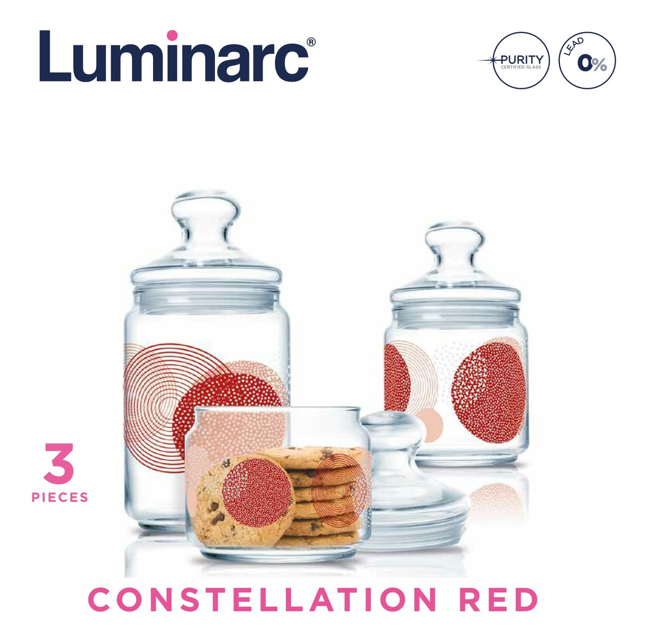 Набор банок Luminarc Constellation Red 3пр.