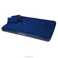 Надувной матрас Intex 68765 + 2 подушки, насос (203*152*22 см)
