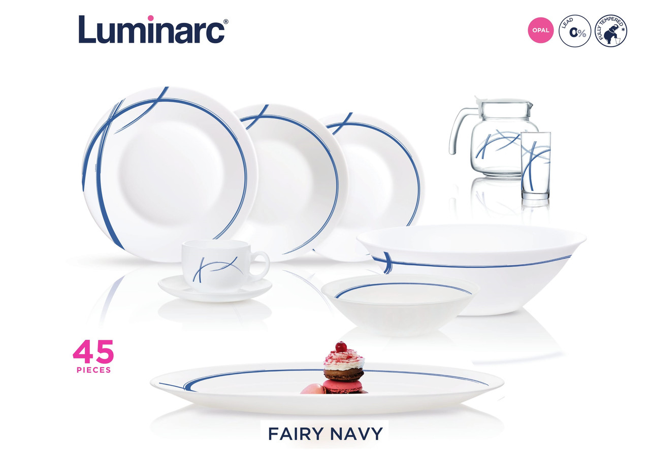 Столовый сервиз Luminarc Essence Fairy Navy 45 предметов
