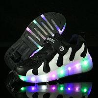 Кроссовки на роликах с подсветкой, черно-белые волны, фото 1